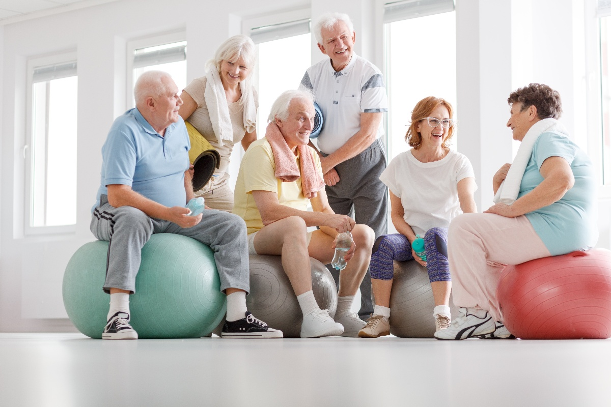 group of elderly seniors working out