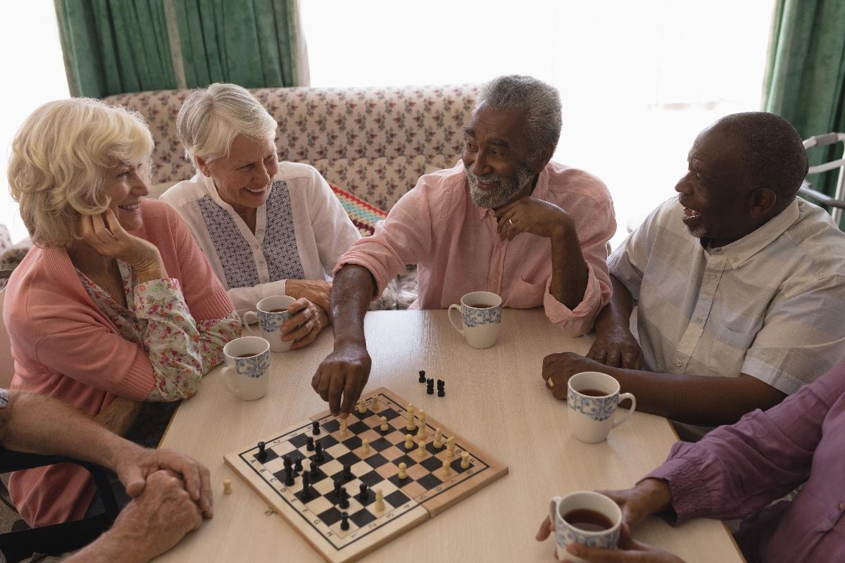 seniors socializing together
